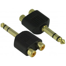 "1/4"" 6.35mm Audio Stereo Male Socket to 2 RCA Female Adapter Plug"