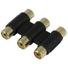 3 RCA AV Joint Straight Plug Jack Adapter Connector Coupler AV Cable