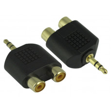 3.5mm Stereo Plug to Dual Two 2 Port RCA Female Adapter Y Connector