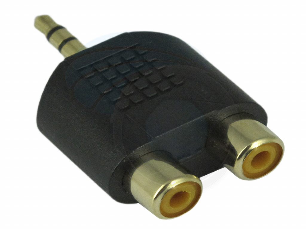 3 5mm Stereo Plug To Dual Two 2 Port Rca Female Adapter Y