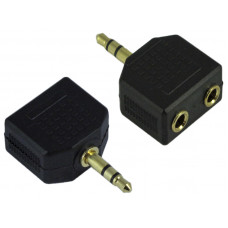 3.5mm Stereo Plug to Dual Two Channel Female Ports Adapter Y Connector
