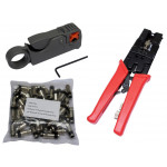 50pcs RG6 Coax Compression Connectors Crimping Tool Cable Stripper