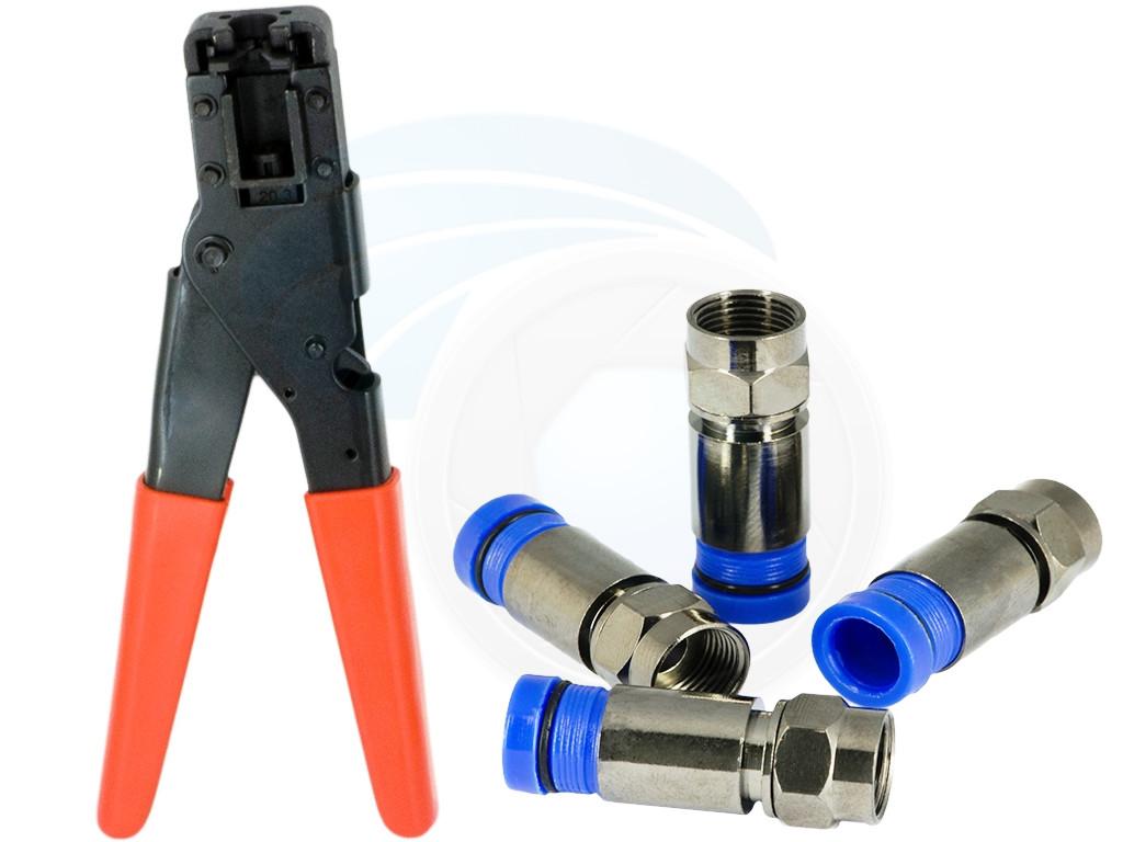 Coax Cable Connector Compression Crimping Tool Rg6 Rg59 F