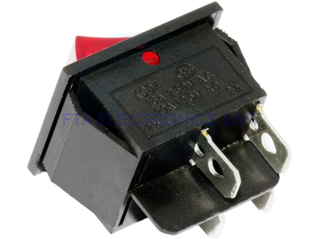 Red Button On-Off 4 Pin DPST Boat Rocker Switch 16A 250V ...