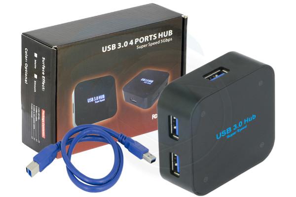 Super Speed 5Gbps USB 3.0 4 Ports Hub Individual Port Indicator LED