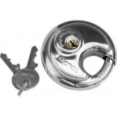 70mm Stainless Steel Armor Brass Cylinder Disc Padlock Round Lock 2Key