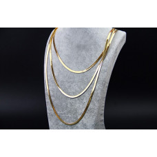 3 Row Snake Chain Lady Women Girl Gold Plated Necklace Thick Chains