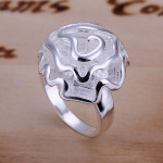 Size 6 Brass Silver Plated Lady Women Girl Party Ring Rose Ornament