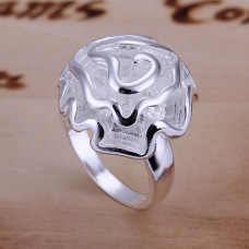 Size 7 Brass Silver Plated Lady Women Girl Party Ring Rose Ornament
