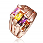 Size 8 Brass 18K Rose Gold Plated Zircon Crystal Lady Women Girls Ring