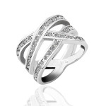 Size6 Ashbury Metal 18K White Gold Plated Rhinestone Crystal Lady Ring
