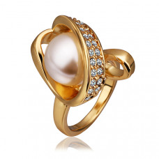 Size 8 Ashbury Metal 18K Yellow Gold Plated Pearl Rhinestone Crystal