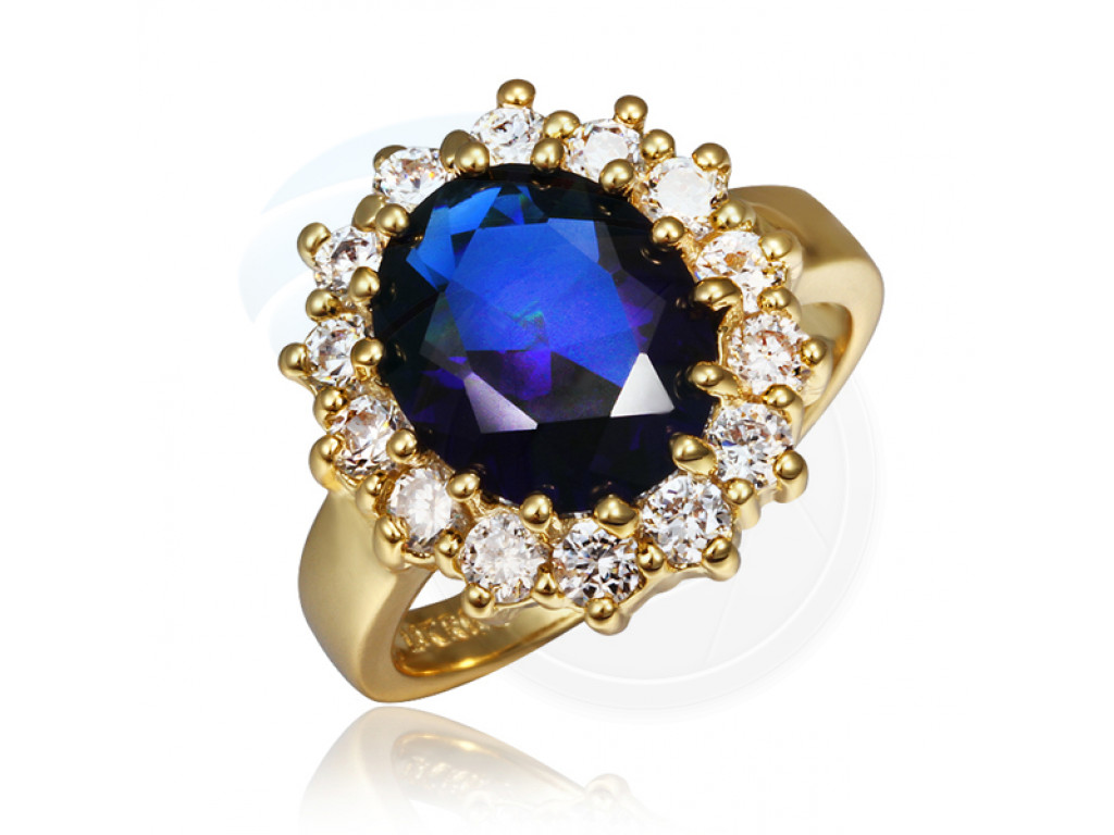 Size 8 Brass 18k Yellow Gold Plated Blue Zircon Crystal