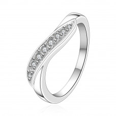 Size7 Brass Silver Plated Zircon Crystal Ladys Women Girls Party Ring