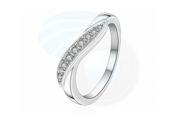 Size 8 Brass Silver Plated Zircon Crystal Ladys Women Girls Ring