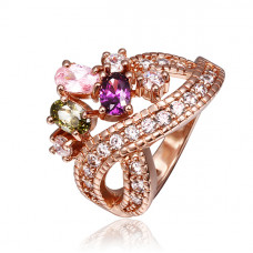 Size 8 Brass 18K Rose Gold Plated Zircon Crystal Lady Girls Women Ring