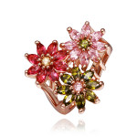 Size 8 Brass 18K Rose Gold Flowers Plated Zircon Crystal Women Ring