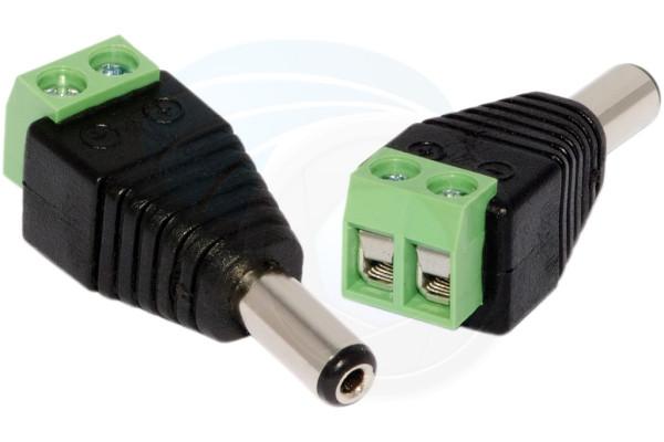 2Pcs CCTV Camera UTP Power DC Plug 2.1mm x 5.5mm Male Power Connector