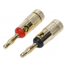 2Pcs Premium Quality 24K Speaker Connector Banana Plugs Red and Black