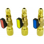 R134A Manifold Gauge Refrigerant Charging Set of 3 Ball Valve Adapters