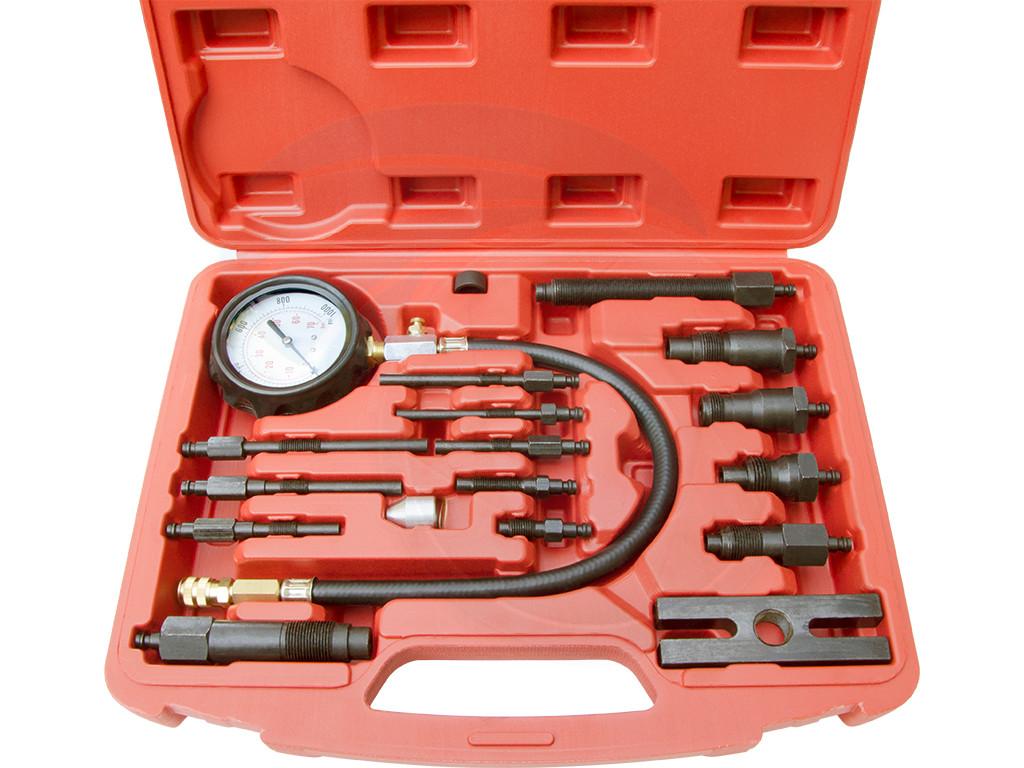 17 PCS Diesel Engine Compression Gauge Tester Cylinder Pressure Test Set Kit