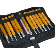 12pc Set Carbon Steel Cutting Blades Wood Carving Tools Storage Case