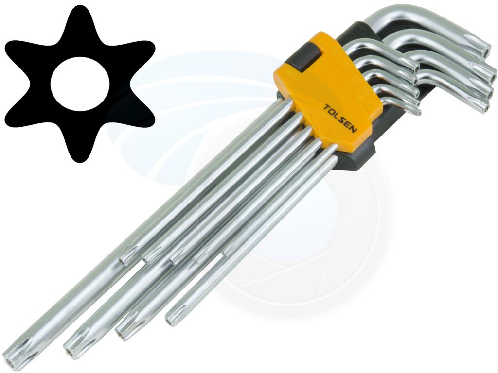 Mini 9 pcs Long Arm Star Torx Allen Hex Key Wrench Spanner CRV marked