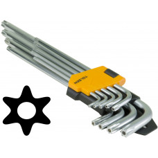 9pcs Extra Long Arm Torx Hex Key Set Star with Shaft Pin Slot Wrenches
