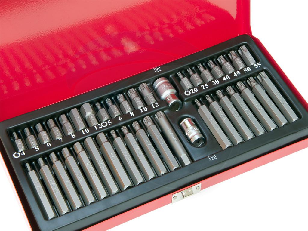 40pcs Socket Set 1 2 3 8 Adaptor Drive Hex Torx Xzn Spline