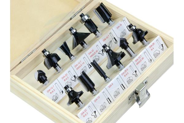 12Pcs Router Bit Set Shank Tungsten Carbide Rotary Tool Wood Case Box