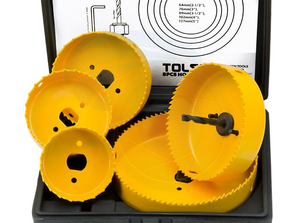 8pcs Hole Saw Set 64-127mm Wood Plastic Boring Drill Circle ...