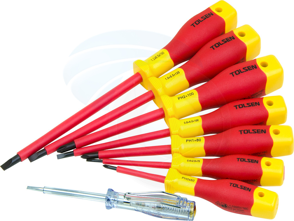 8pcs Vde Power Insulated 1000v Flat Phillips Handle