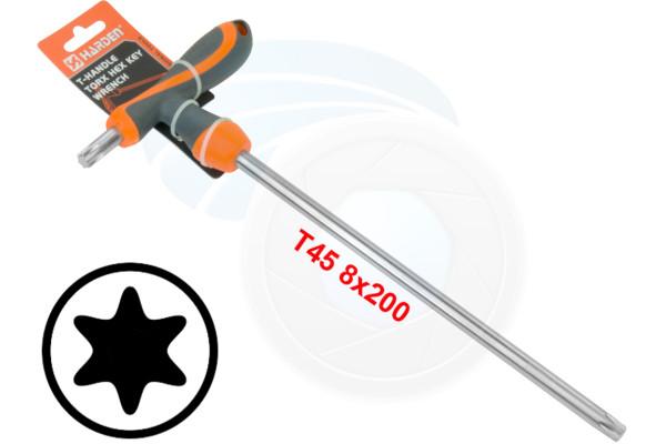 T45 T-Handle Torx Torque 6 Point Star Key CRV TPR Screwdriver Wrench