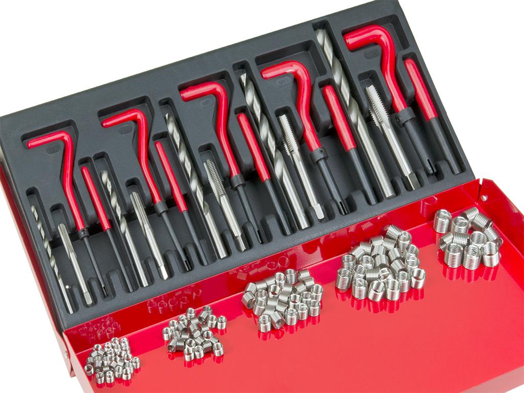 1.25 Explopur Durabled 15Pcs Metric Thread Repair Insert Kit M5 M6 M8 M10 M12 M14 Helicoil Car Pro Coil Tool M14